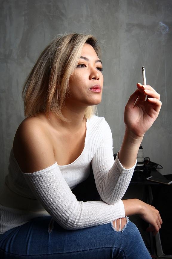 woman smoking a cigarette